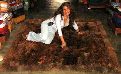 Dark brown Baby alpaca fur rug from Peru, 80 x 60 cm/ 2'62 x 1'97 ft