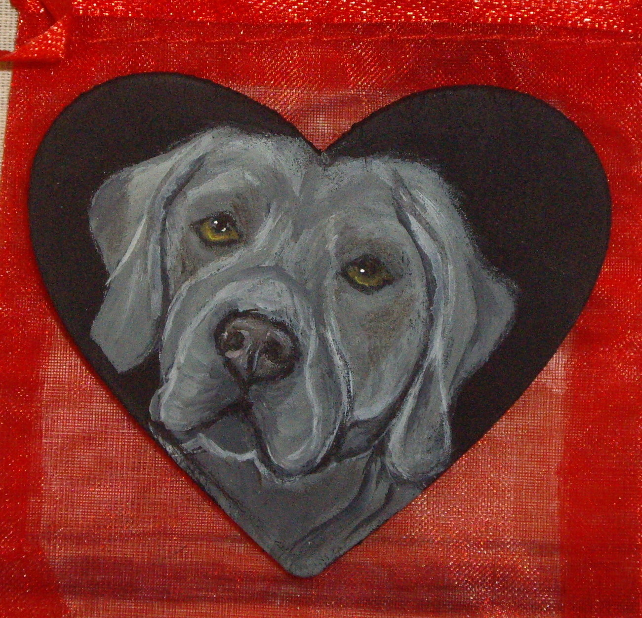 Weimaraner Dog Custom Hand Painted Pin Brooch