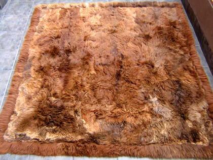 Soft dark brown baby alpaca fur carpet, 80 x 60 cm/ 2'62 x 1'97 ft