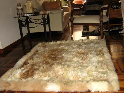 Soft light brown baby alpaca fur carpet, 80 x 60 cm/ 2'62 x 1'97 ft