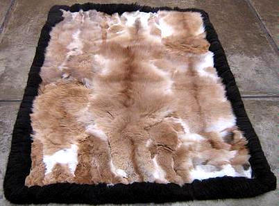 Soft baby alpaca fur carpet with a black boarder, 80 x 60 cm/ 2'62 x 1'97 ft