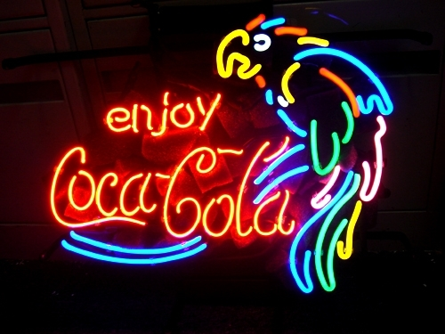 "Primary image for Coca Cola Coke Parrot Beer Bar Neon Store Sign 17"" x 14"""