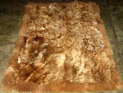 Brown long hair Babyalpaca fur carpet from Peru, 80 x 60 cm/ 2'62 x 1'97 ft