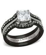 WOMEN'S BLACK STAINLESS STEEL 1 CT CUSHION CUT CZ WEDDING RING SET SIZE ... - $17.09