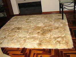 Beige Alpaca fur rug from Peru, carpet of  80 x 60 cm - $128.00