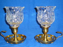 Set of Two Homco Reflections Clear Glass Peg Votive Candle Holders - $16.99