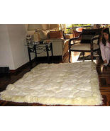 Natural white alpaca fur carpet with Octagon designs, 80 x 60 cm - $128.30