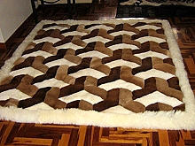 Exclusive modern peruvian Alpaca fur rug with a 3D-Design, 80 x 60 cm
