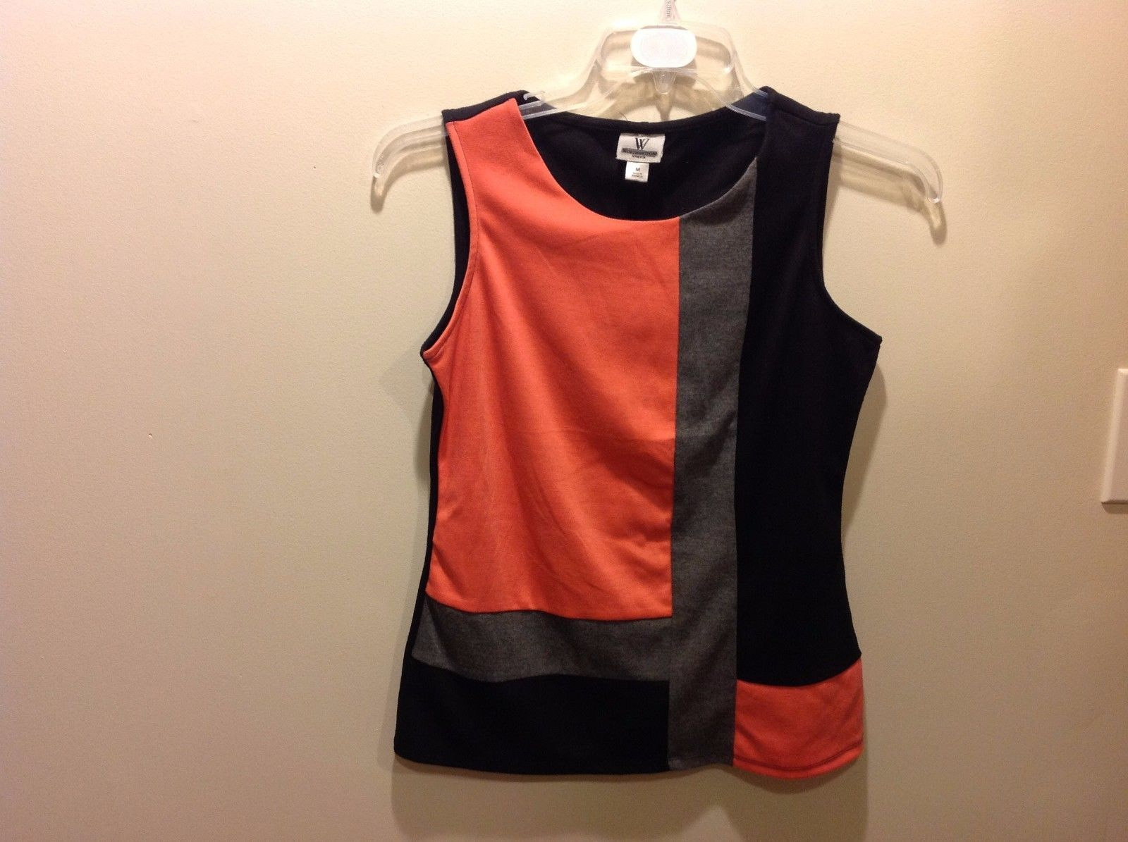 Bright Peach Gray Black Sleeveless Minimalist Top w Block Pattern Design Sz M
