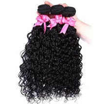 Human Hair Extension Weave 3 Bundles Water Wave Double Weft Natural Color 8-24 - $86.00+