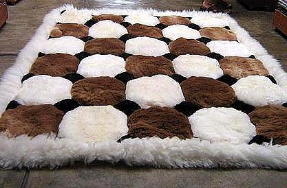 White and brown Alpaca fur rug from Peru, Octagon designs, 80 x 60 cm