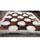 White and brown Alpaca fur rug from Peru, Octagon designs, 80 x 60 cm - $128.30