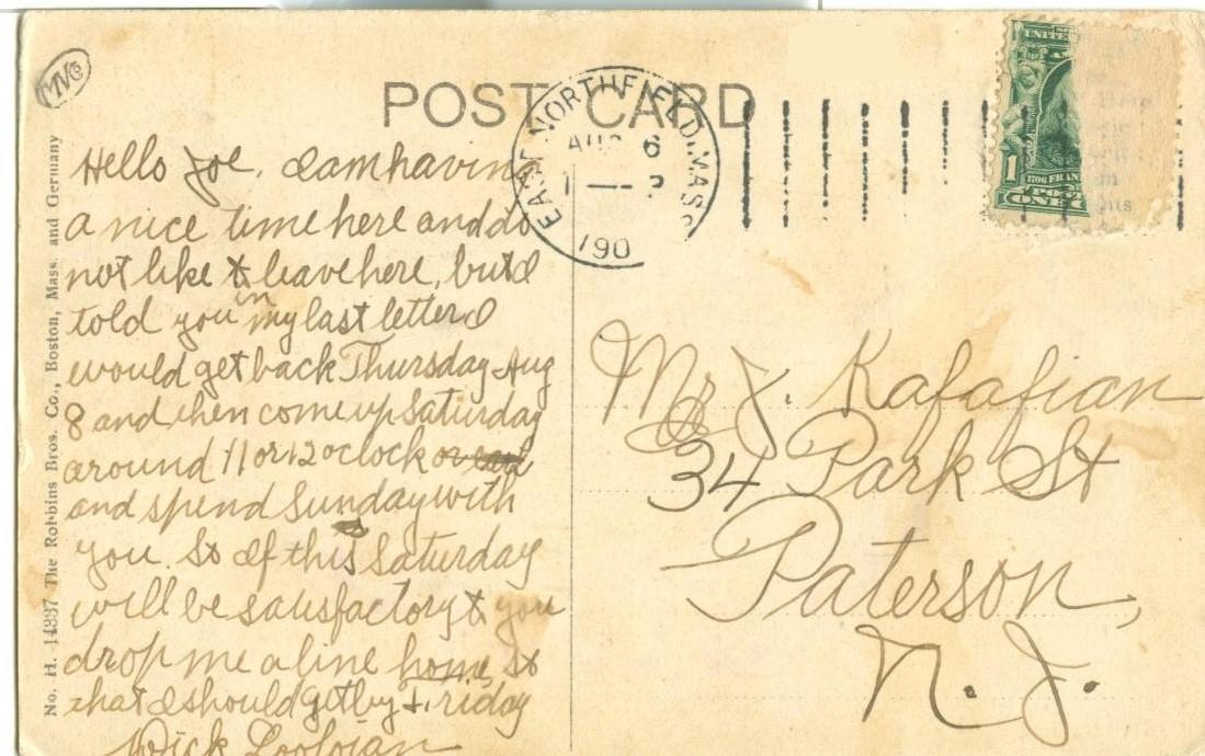 Pauchang Brook, Northfield, Mass, early 1900s used Postcard
