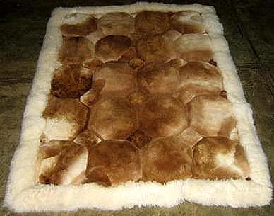 Alpaca fur Rug,Carpet Octagon design, throw, 150 x 110 cm