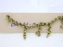 Vintage Gold Tone Ballerina Dancers Charm Bracelet New Old Stock image 2