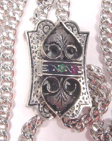 STERLING GEMSET SLIDE & CHAIN