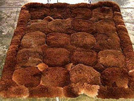 Dark brown Alpaca fur rug from Peru, 80 x 60 cm - $128.30
