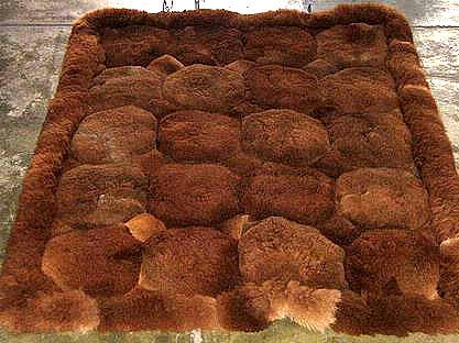 Dark brown Alpaca fur rug from Peru, 80 x 60 cm