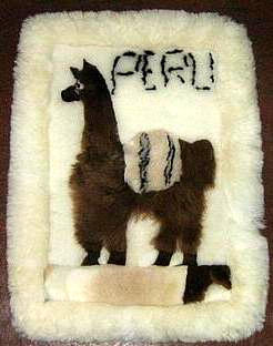 Motive Alpaca fur rug from Peru,59 x 43 Inches,throws