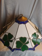 Vintage Stained Glass Light Fixture Shamrock Green - $183.82
