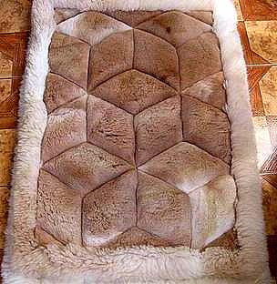 Alpaca fur rug, carpet, rhombus design,39.3 x 23.6 Inch