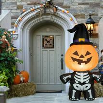 5' Halloween Inflatable Pumpkin Skeleton Lantern with Witch Hat - $31.58