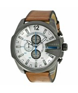BRAND NEW DIESEL DZ4280 MEGA CHIEF BROWN LEATHER GUNMETAL CHRONO MEN'S W... - £155.95 GBP