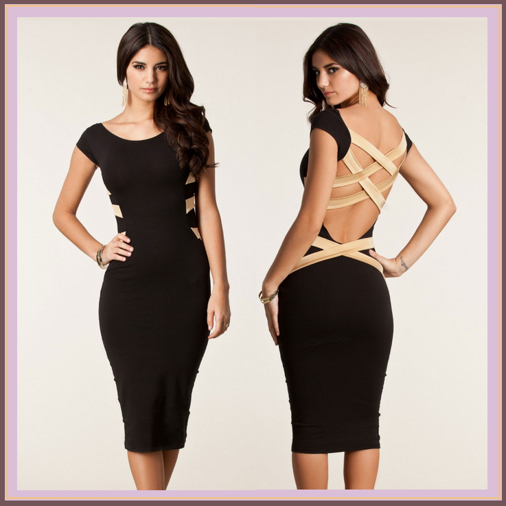 Black Stretchy Midi Bodycon with Scoop Neck  and Beige Criss Cross Strap Back