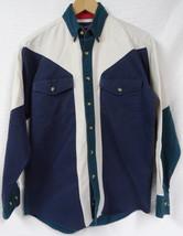 WRANGLER Western SHIRT Colorblock NAVY Blue BEIGE Teal COTTON Button SIZ... - $24.70