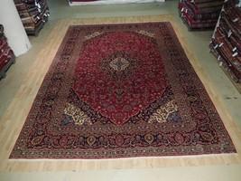 Red Handmade Rug 10x14 Persian Kashan Rug Organic Wool Classic Design Ca... - $1,078.72