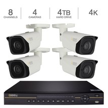 Q-See 8-Channel 4K HD IP NVR with 4TB HDD, 4 4K Cameras with 100' Night ... - $1,166.00