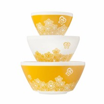 Pyrex Vintage Charm Golden Days 3 Piece Mixing Bowl Set Inspired NEW - $64.34