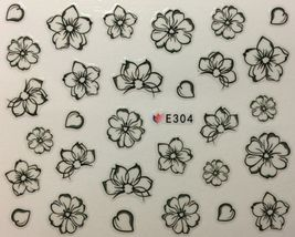 BANG STORE Nail Art 3D Decal Stickers Sketch Flowers Black Outline Flowers - $3.68