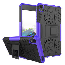 Shockproof Dual Layer Kickstand Protective Case for Sony Xperia E5 - Purple  - $4.99