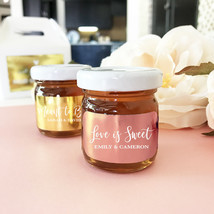 50 Personalized Silver Rose Gold Foil Honey Jar Bridal Wedding Favor - $193.56