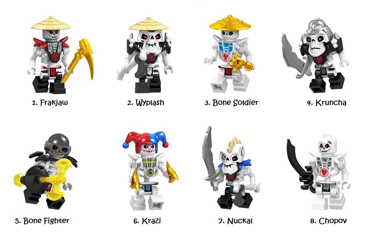 Ninjago Lego Minfigures Skeleton Frakjaw Nuckal Kruncha Minifigure Kids Toy - $2.69