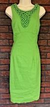 Adrianna Papell Sz 10 Chartreuse Green Sleeveless Stretch Linen Blend Dress - $22.52