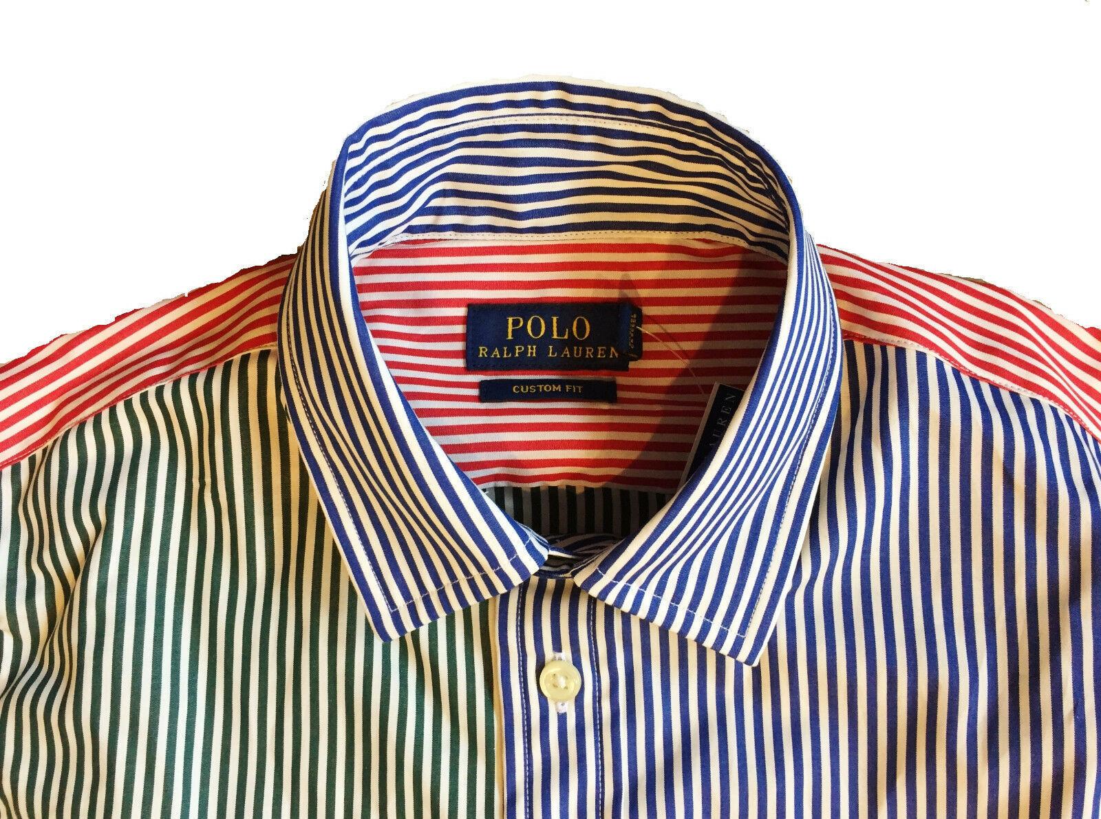 ralph lauren multi colored Patchwork Custom Fit Oxford Shirt  Sizes 0, 2, 8, 10