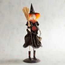 NWT PIER1 Halloween Metal Glitter Young Witch Orange Sculpture Figurine ... - $39.59