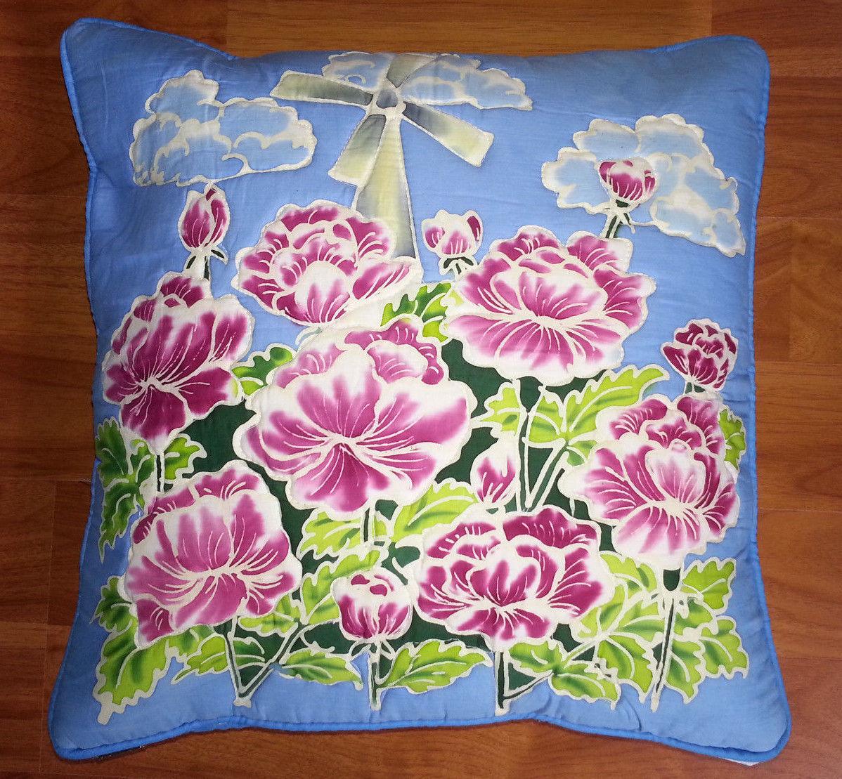 New Handpainted Batik Flowers Windmill 17x17 Inch Cotton Pillow Cover Bali - $14.03