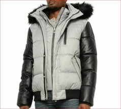 new Noize men coat jacket parka 5201821167 vegan grey black L $275 - $89.09