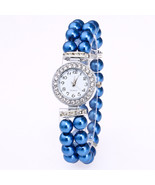 Simulated Pearl Strap Watch Women Rhinestone Small Dial Bracelet Watch BLUE - $19.00