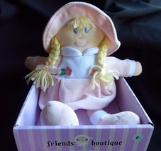 "Kids Preferred Pink Doll Lovey Soft Toy Hat Blonde Braids Plush 11"" - $25.24"
