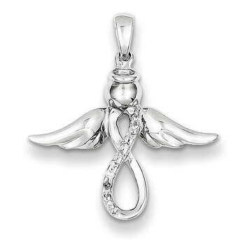 Primary image for Lex & Lu Sterling Silver Diamond Angel Pendant