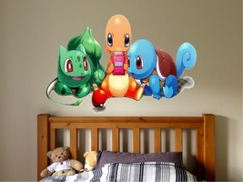 Pokemon Charmander, Squirlte, Bulbasaur, cute Window View Decal WALL STI... - $6.92+