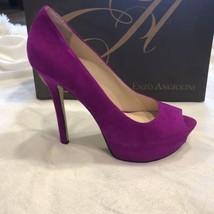 Enzo Angiolini Eatanen Heels 7 M Dark Pink Suede Leather Pumps Shoes Violet - $35.99