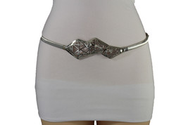 Women Elastic Silver Metal Band Narrow Fashion Belt Long Geometric Buckle S M - $15.67