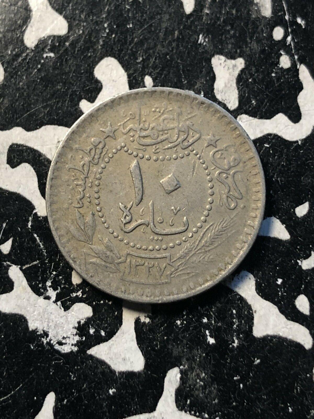 Ah 1327 Yr. 3 (1911) Tacchino 10 Para (3 Disponibile) Circolate (1 Moneta solo)