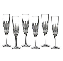 Waterford Lismore Diamond Champagne Flutes Set of 6 #40003655 New In Lar... - $349.90
