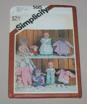 """Simplicity 5615 Baby Doll Clothes Pattern Medium 15""""-16"""" Size 1985 New - $5.89"""